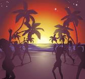 Sunset beach party illustration — Stock Vector