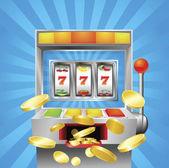 Slot fruit machine winning — Stock Vector