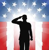 Patriotic soldier salute — Stock Vector