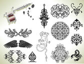 Tattoo flash design elements — Stock Vector
