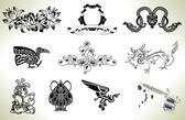 Tattoo flash design elements — Stock Vector