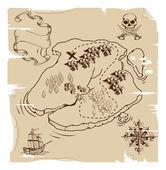 Ye Olde Pirate Treasure Map — Stock Vector