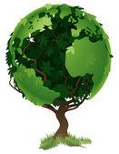 Concepto de árbol mundo globo — Vector de stock