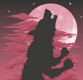 Werewolf silhouette howling at moon — Stock Vector