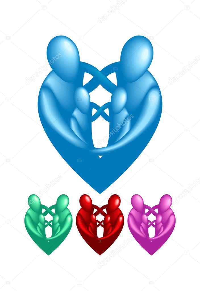 A loving protective family forming a heart shape.   Stock Vector #6574881