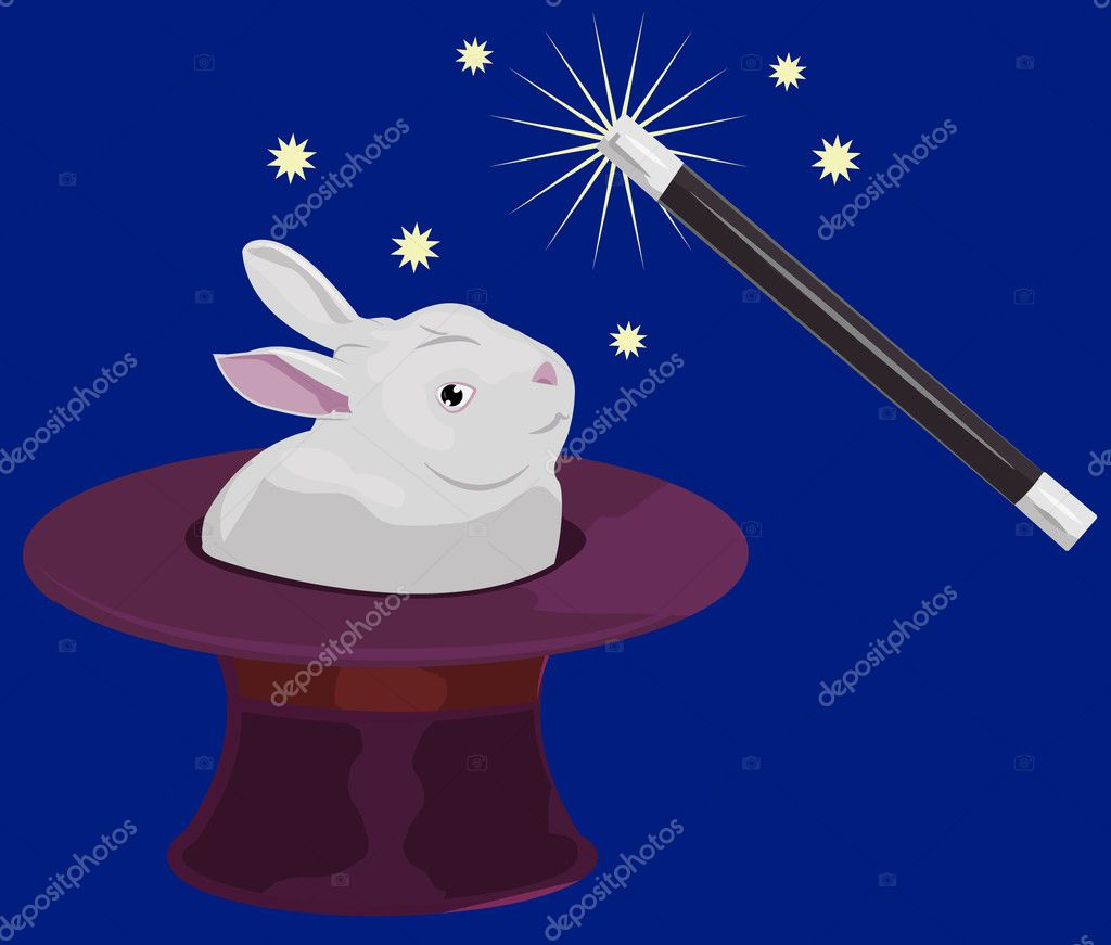 A rabbit appearing out of a tophat and a magic wand  — Stock Vector #6575054