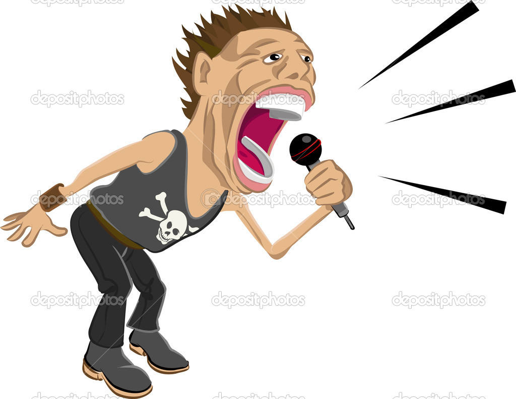 A rockstar screaming into a mic.  — Imagen vectorial #6575146