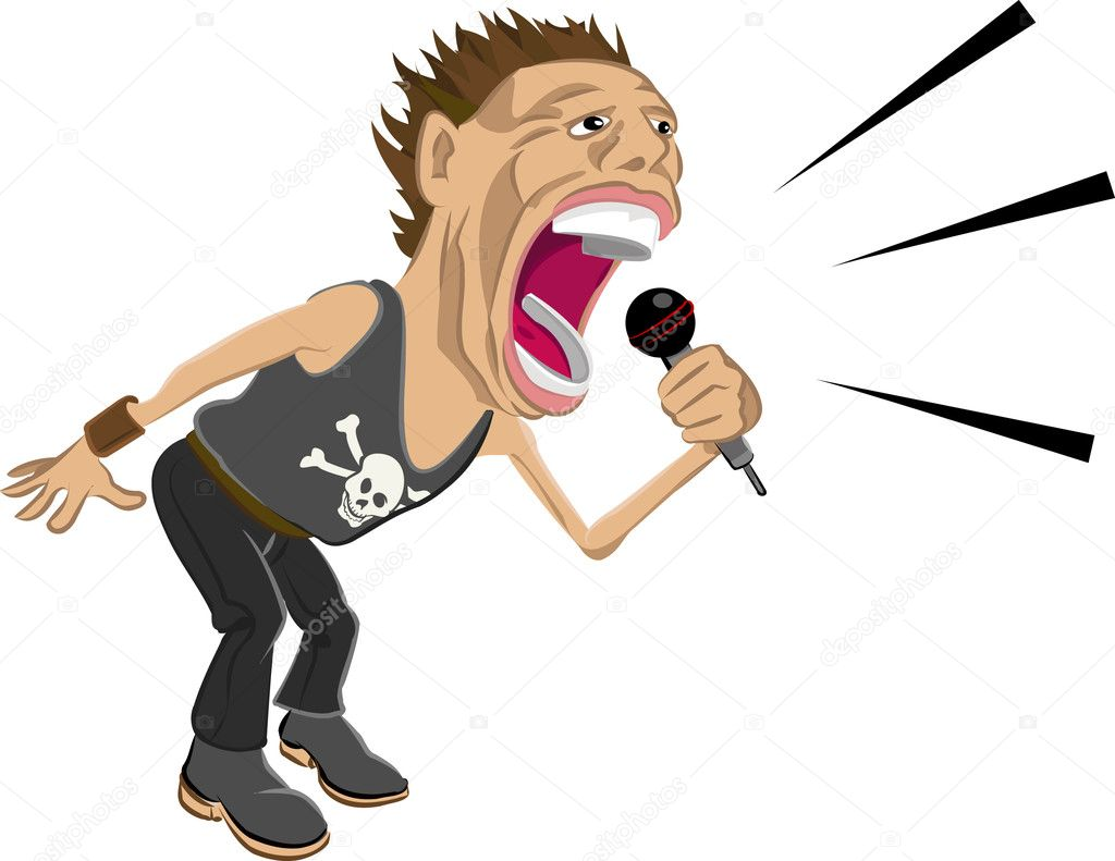 A rockstar screaming into a mic.  — Stockvektor #6575146