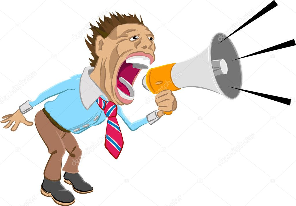 A business man shouting into a megaphone   Stock Vector #6575163