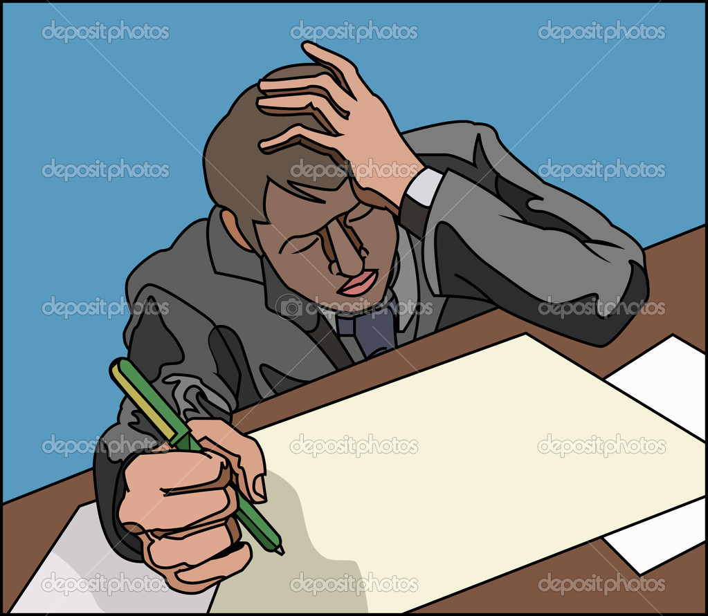 Stressed looking overworked business person, or student.  — Stock Vector #6575196