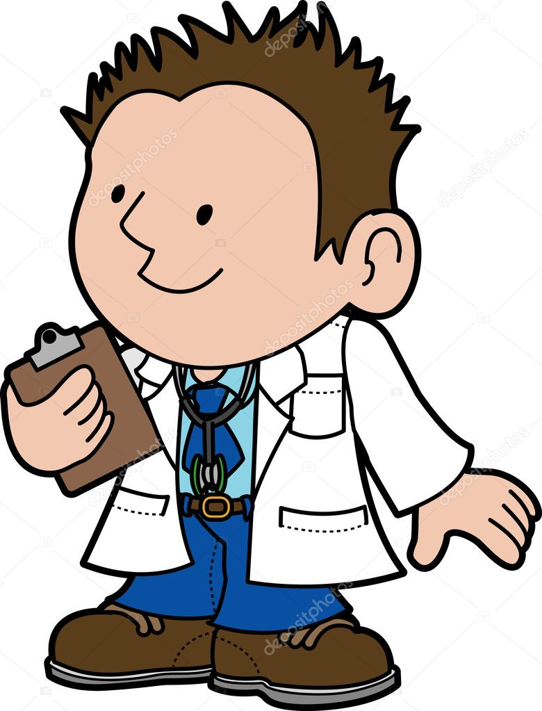 Illustration of male doctor holding clipboard — Stock Vector #6576610
