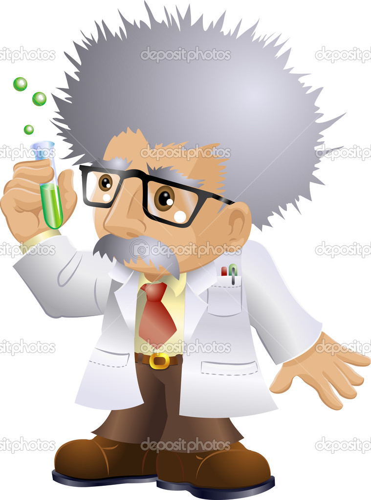 Illustration of a kooky professor or scientist holding a test-tube — Stock Vector #6576774