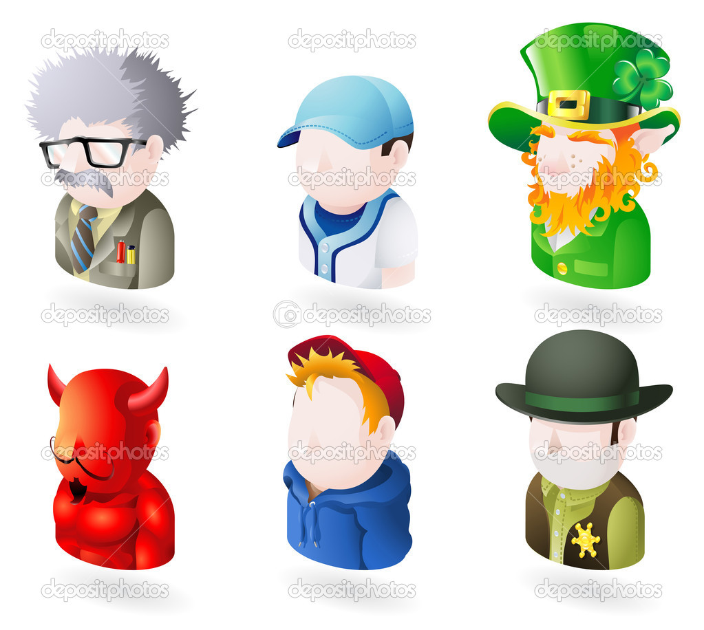 An avatar web or internet icon set series. Includes a scientist or teacher, a baseball player, an irish leprechaun, a devil or satan, a boy or teenager i — Stock Vector #6577492