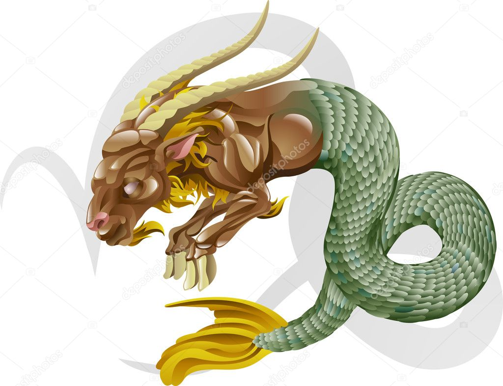 Illustration representing Capricorn the sea goat star or birth sign. Includes the symbol or icon in the background  Stock Vector #6577575