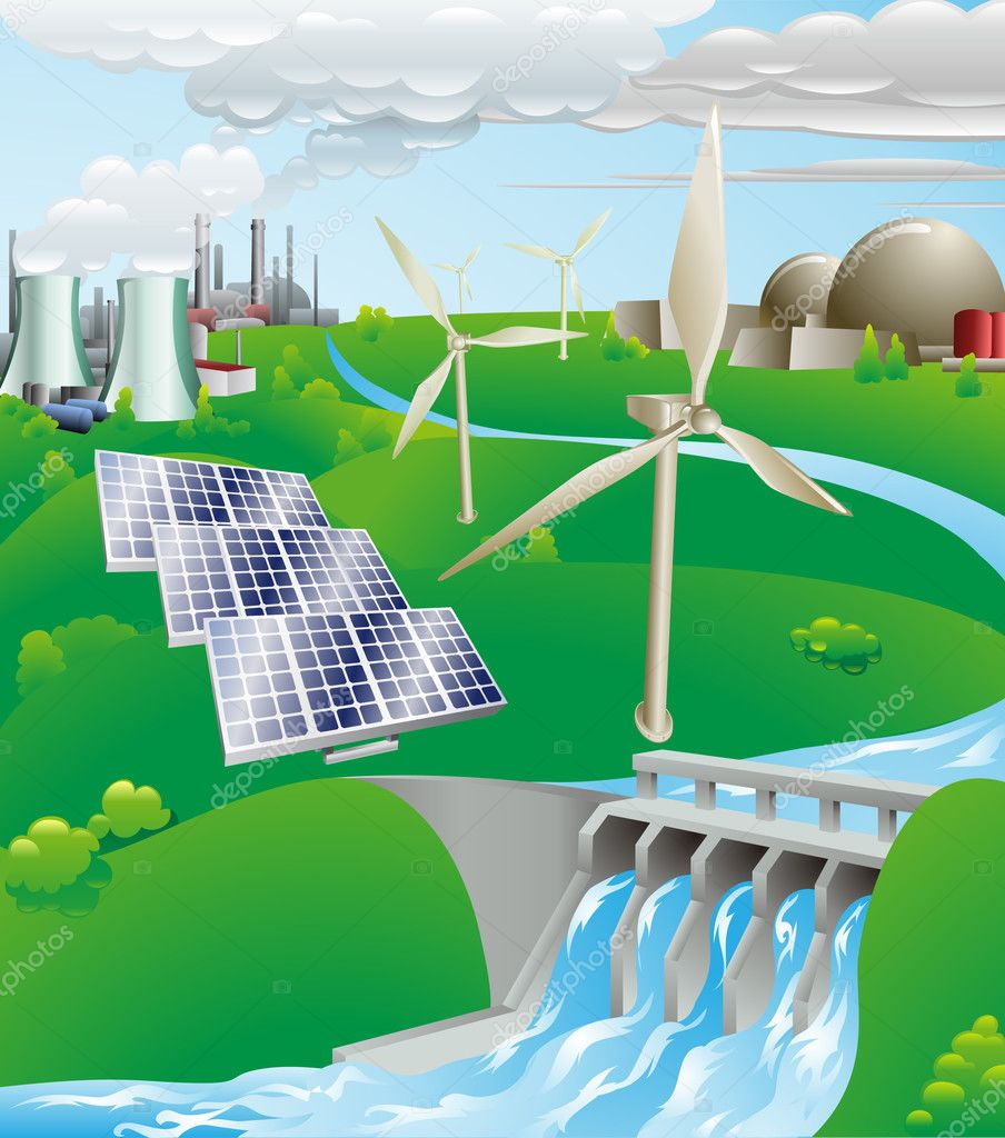 Conceptual illustration showing many different types of power generation, including nuclear, fossil fuel, wind power, photovoltaic cells, and hydro electric wat  Stock Vector #6577730