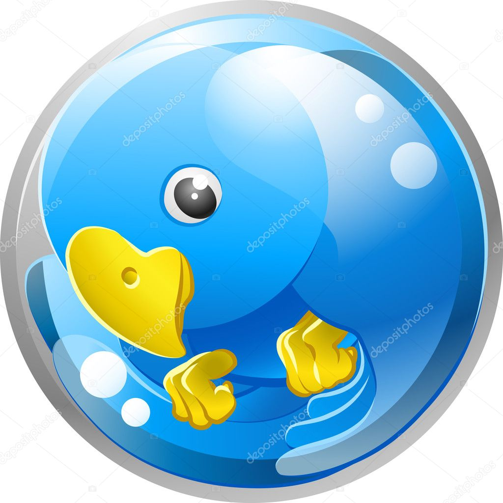 A tweet ing twitter ing blue bird icon or symbol illustration   Stock Vector #6577963