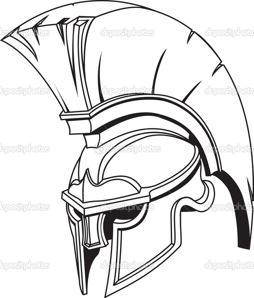 An illustration of Spartan roman greek trojan or gladiator helmet with plume — Stock Vector #6578079
