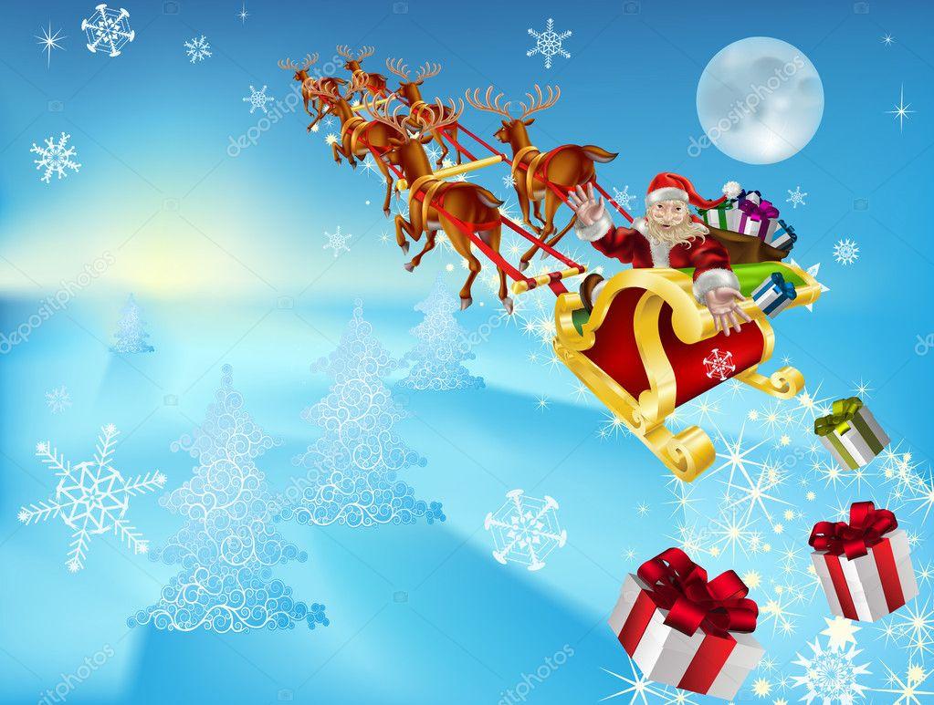 Santa in his sleigh stock vector 169 krisdog 6578376