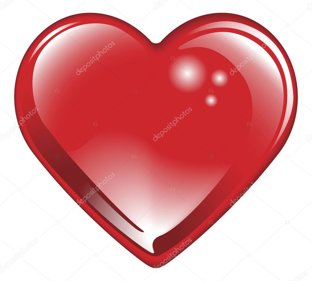 Isolated shiny glossy red valentines day heart. Classic symbol of romantic love.   Stock Vector #6578405