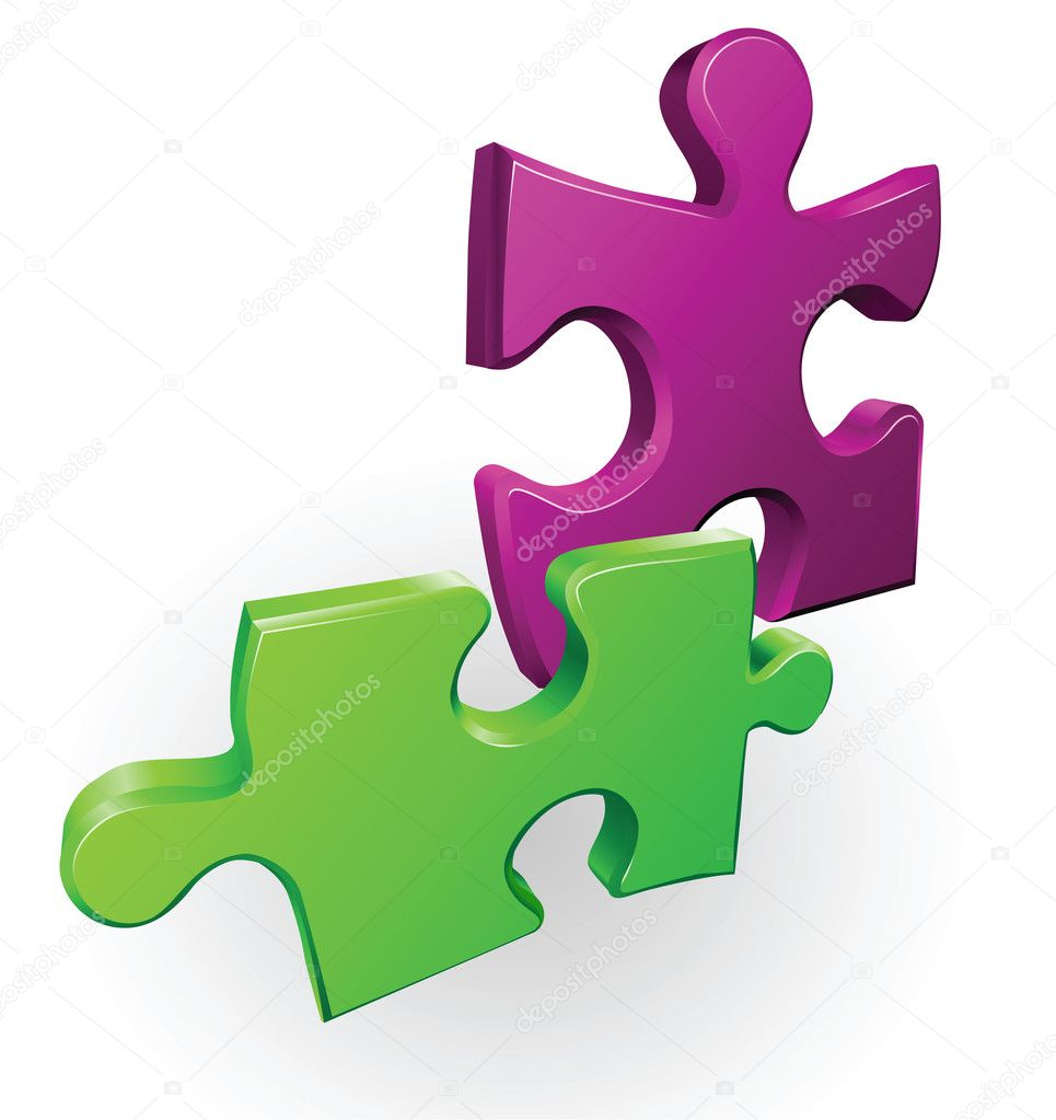 Illustration of two jigsaw puzzle pieces  Stock Vector #6578423