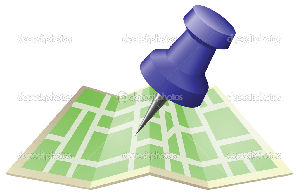 An illustration of a street map with drawing push pin. Can be used as an icon or illustration in its own right.  Stock Vector #6578447