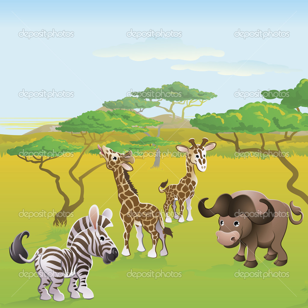 Cute African safari animal cartoon characters scene. Series of three illustrations that can be used separately or side by side to form panoramic landscape. — Stock Vector #6578716