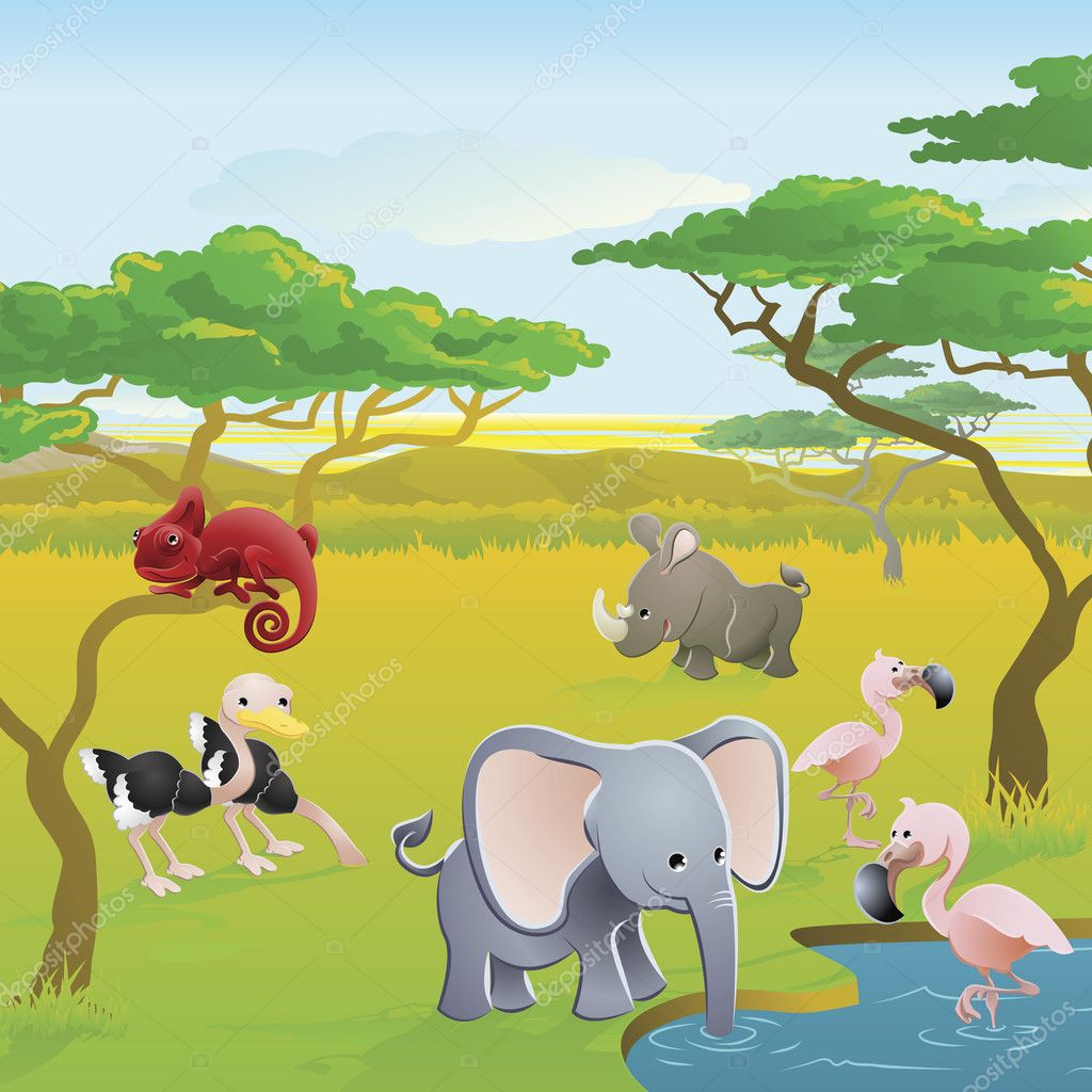 Cute African safari animal cartoon characters scene. Series of three illustrations that can be used separately or side by side to form panoramic landscape. — Stock Vector #6578717