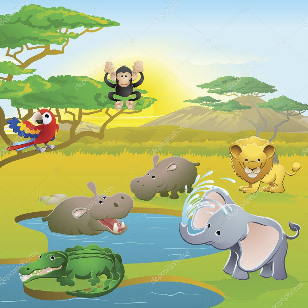 Cute African safari animal cartoon characters scene. Series of three illustrations that can be used separately or side by side to form panoramic landscape. — Image vectorielle #6578718