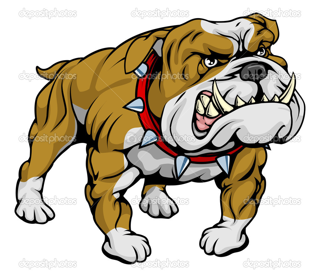 A cartoon very hard looking bulldog character.  — Stock Vector #6578758