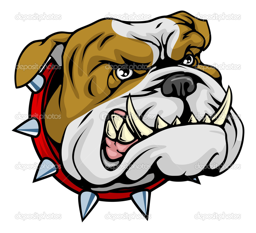 Mean looking illustration of classic British bulldog face — Stock Vector #6578763
