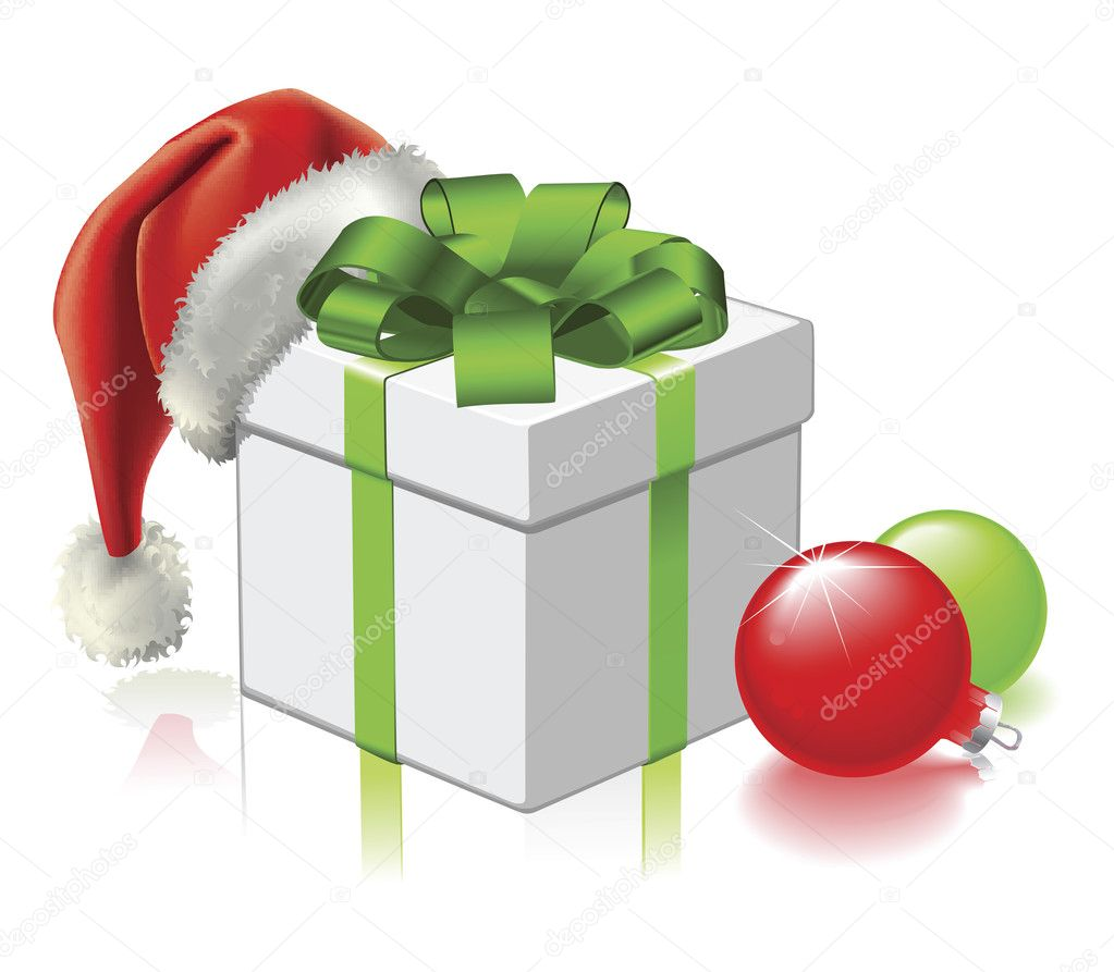 A Christmas gift with Santa hat and baubles — Stock Vector #6578806