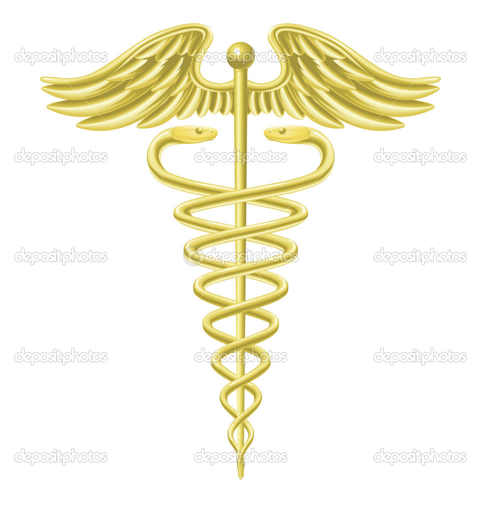 An illustration of a gold caduceus medical doctor's symbol — Stock Vector #6578857