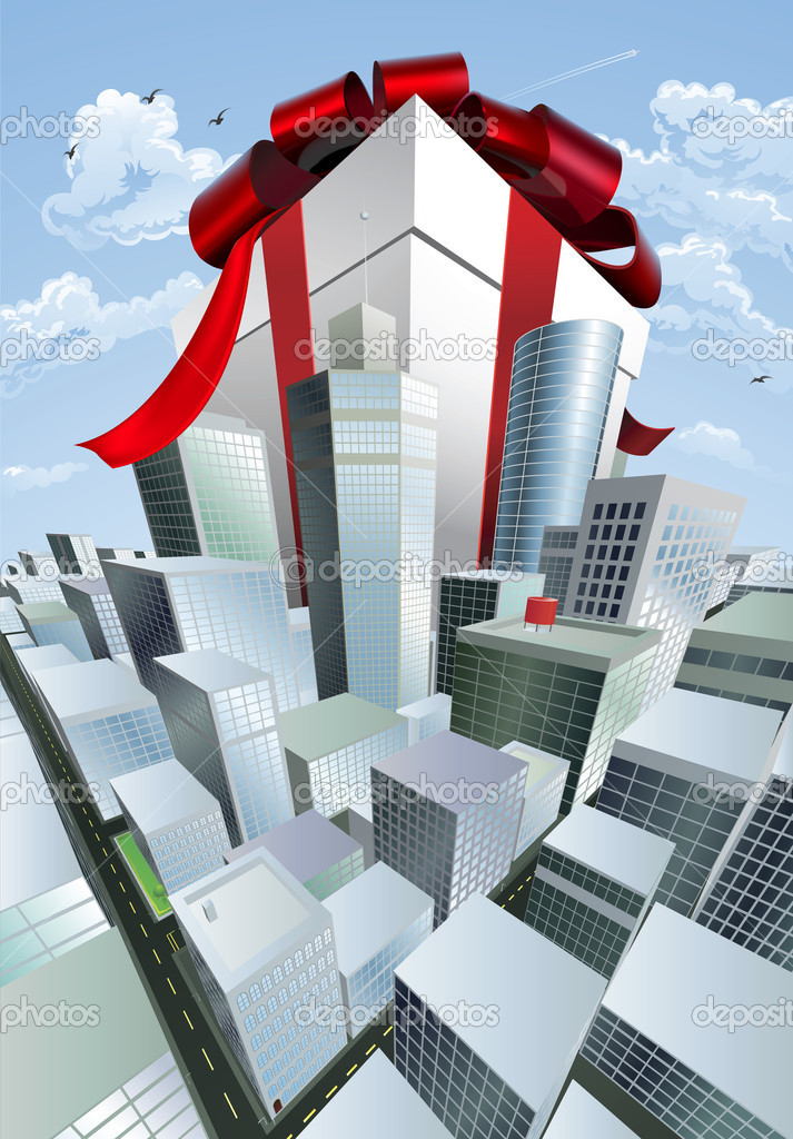 A huge gift. Conceptual illustration of a huge present with bow towering over a city. Could represent a massive sale or bargain. — Stock Vector #6578943