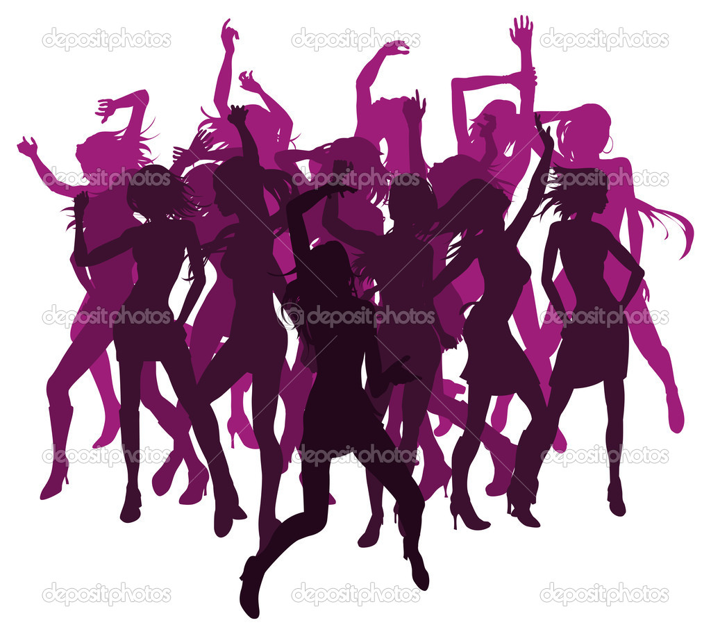 Group of sexy beautiful women dancing in silhouette — Stock Vector #6579141