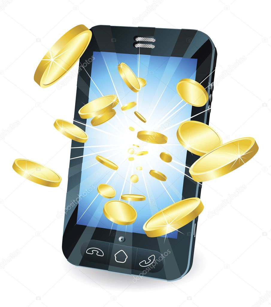 Conceptual illustration. Money in form of gold coins flying out of new style smart mobile phone. — Stock Vector #6579341