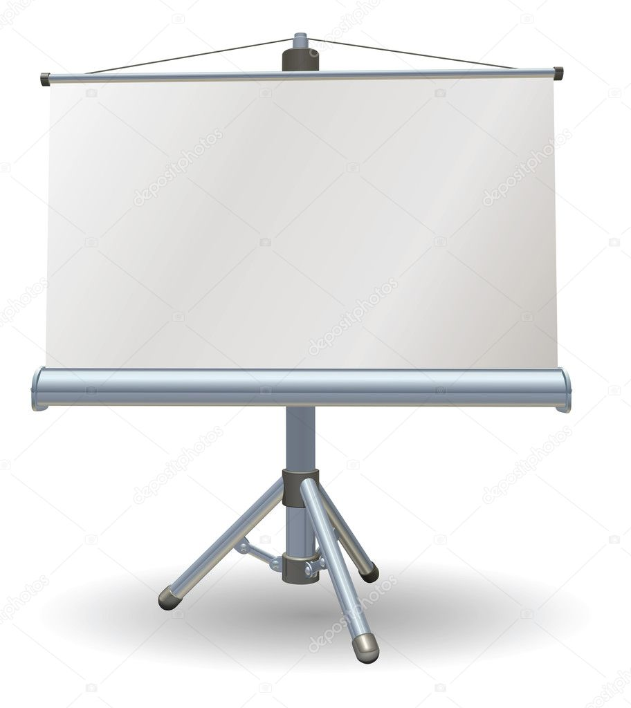 A blank presentation or projector roller screen — Stock Vector #6579413