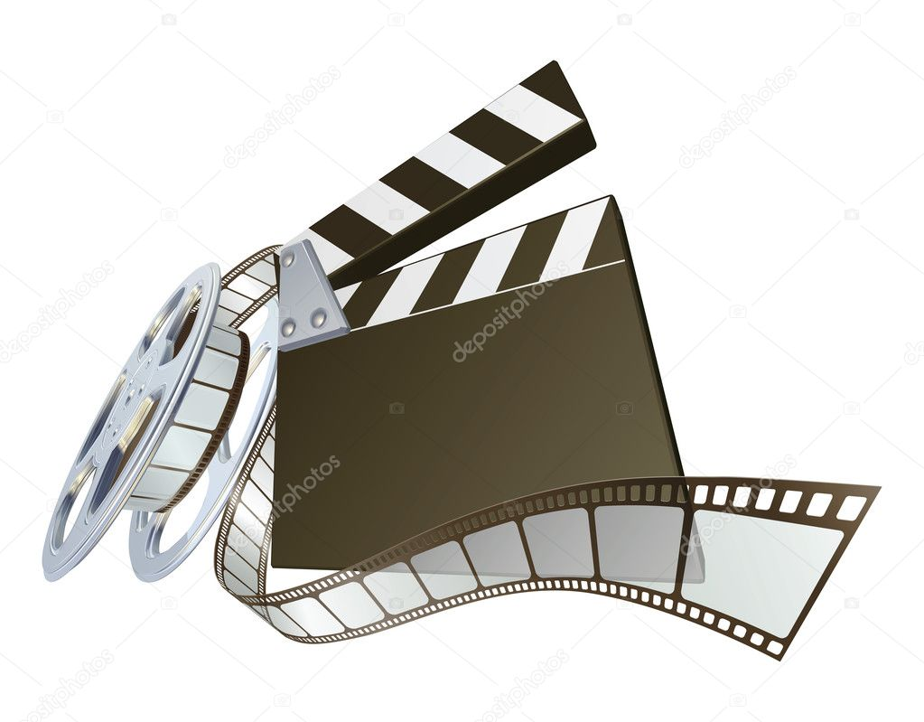 Film clapperboard and movie film reel stock illustration