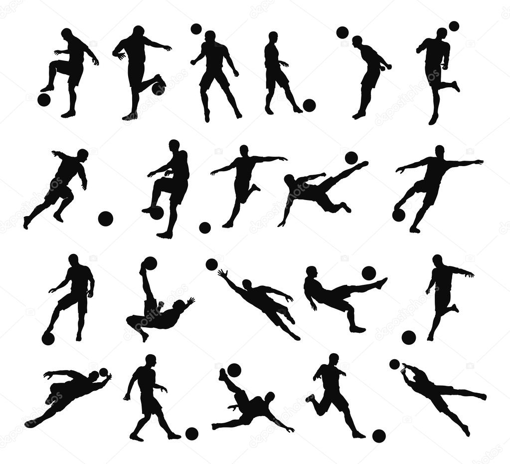 Very high quality detailed soccer football player silhouette outlines. — Stock Vector #6579525