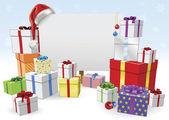 Weihnachten-zeichen und geschenke-konzept — Stockvektor