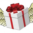 Gift flying with feathered wings — Stock Photo
