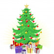Christmas tree and gifts illustration — Stock Vector #6683756