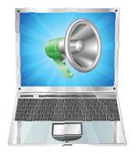 Conceito de laptop ícone megafone — Vetorial Stock