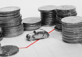 Car Surrounded By Stacks Of Coins — Stock Photo