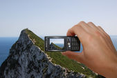 Tourist Taking Picture Of Gibraltar Rock — Stock Photo