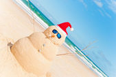 Snowman Built As Sandcastle On Beach — Stock Photo