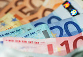 Macro Shot Of Euro Banknotes Focus On 20? — Stock Photo