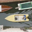 Stock Photo: Top View On Moving Boat In Canal