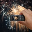 Mobile Phone With Hand Capturing Firework — Stock Photo