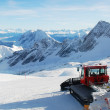 Snowcats Parked On Top Of Mountain — Stock Photo