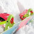 Colorful Snowboard & Binding — Stock Photo